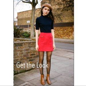 J.Crew Factory Red Wool Mini Skirt